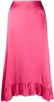 Semi-Couture Ruffle Trimmed Midi Skirt