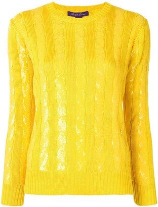 Ralph Lauren Sequin-Embellished Cable-Knit Sweater