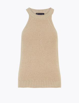 Marks and Spencer Pure Cotton Knitted Crew Neck Fitted Top