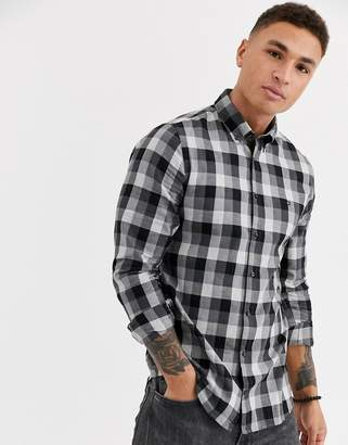 Tommy Hilfiger slim herringbone long sleeve shirt-Black