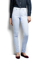 Lands' End Women's Petite Mid Rise Slim Jeans - Garment Dye-Washed Sky Blue