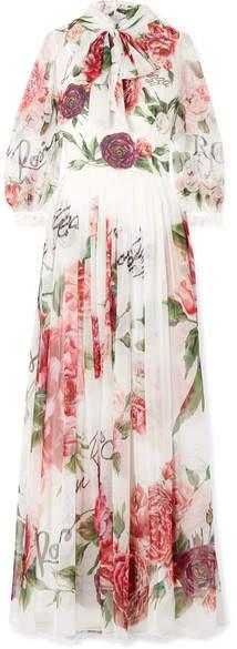Dolce & Gabbana Pussy-bow Floral-print Silk-chiffon Gown - White