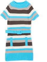 Pink Angel Turquoise Stripe Belted Mock Neck Dress - Infant Toddler & Girls