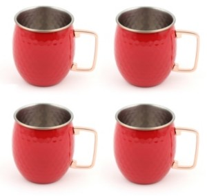 Fiesta Scarlet 18-Ounce Hammered Moscow Mule Mugs, Set of 4