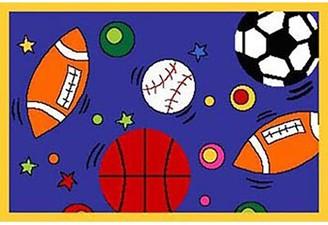Zoomie Kids Straight Kids Football, Baseball, Basketball Soccer Blue Area Rug Rug Size: Rectangle 3' x 5