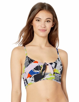Bikini Lab Women's Tie Front Midkini Hipster Bikini Swimsuit Top