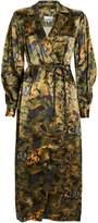 Ganni Camouflage Heavy Satin Shirt Dress