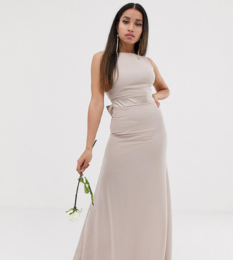 TFNC Petite Bridesmaid exclusive bow back maxi in mink