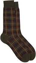 Barneys New York Men's Greenwich Checked Mid-Calf Socks-DARK GREEN