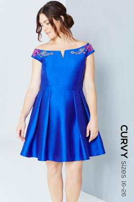 Little Mistress Curvy Cobalt Mini Prom Dress With Jewels