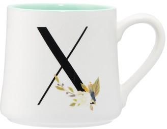 Indigo Floral Monogram Mug X