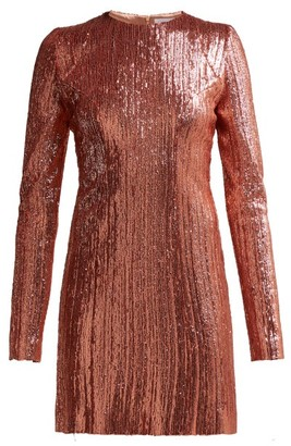 Galvan Sequined Stretch-tulle Mini Dress - Womens - Rose Gold