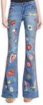 Alice + Olivia Ryley Embroidered Low-Rise Bell-Bottom Jeans, Multicolor