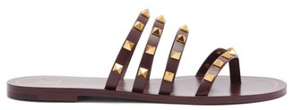 Valentino Rockstud Flair Leather Sandals - Womens - Burgundy