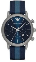 Emporio Armani Round Stainless Steel Nylon Strap Watch