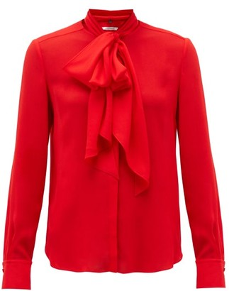 Another Tomorrow - Tie-neck Crepe Blouse - Red