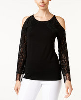 Thalia Sodi Lace-Sleeve Sweater, Only at Macy's
