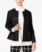 Alfani PRIMA Faux-Leather Peplum Jacket, Only at Macy's