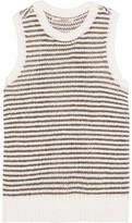 J Brand Garey Striped Crochet- Knit Cotton-Blend Tank
