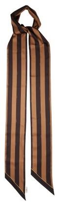 Fendi Striped Logo-print Silk-satin Scarf - Brown