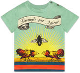 "Gucci Baby cotton t-shirt with ""L'Aveugle Par Amour"" bee print"