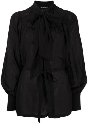 Ann Demeulemeester Pussy-Bow Belted Blouse