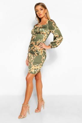 boohoo Satin Chain Print Tie Front Shift Dress