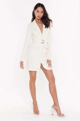 Nasty Gal Womens Ring Pull Belted Mini Blazer Dress - white - 12