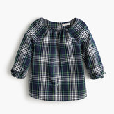 J.Crew Girls' tie-sleeve top in plaid