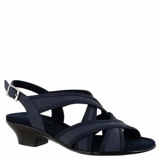 Easy Street Shoes Womens Viola Heeled Sandal Navy Linen Print 6.5 Wide US