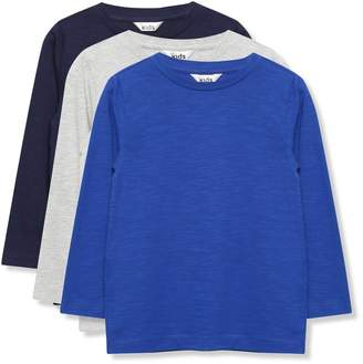 M&Co Plain long sleeve t-shirts three pack (3-12yrs)