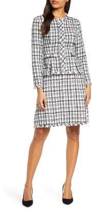 Julia Jordan Check Long Sleeve Peplum Tweed Dress