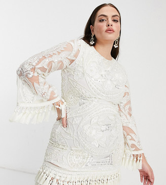 A Star Is Born Plus exclusive embellished mini dress with tassel fringe in white