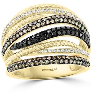 Effy Multicolor Diamond Crossover Statement Ring (7/8 ct. t.w.) in 14k Gold