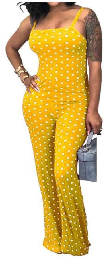 pipigo Womens Backless Polka Dot Wide Leg Spaghetti Strap Long Rompers Jumpsuits