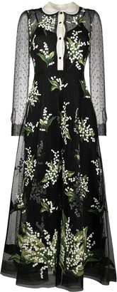 RED Valentino Floral-Embroidered Flared Dress