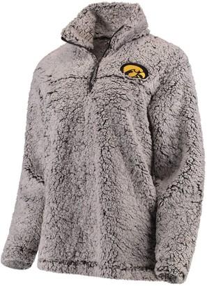 Unbranded Women's Gray Iowa Hawkeyes Sherpa Super Soft Quarter-Zip Pullover Jacket