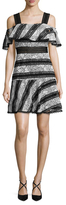 ABS by Allen Schwartz Lace And Eyelet Striped A-Line Dress