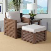 Home Styles Barnside Shorea Wood Chair and Ottoman with Polyester Cushion in Aged Finish