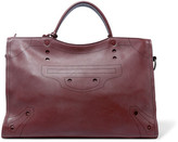Balenciaga City Blackout Perforated Leather Tote - Burgundy
