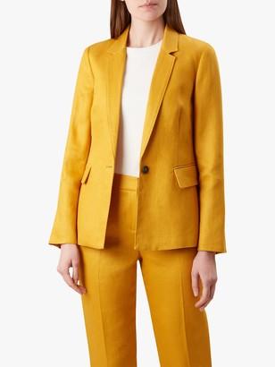 Hobbs Anthea Linen Jacket, Golden Yellow