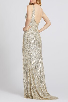 Mac Duggal V-Neck Beaded Sequin Slit Sheath Gown