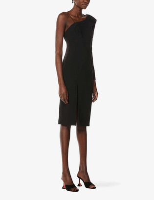 La Perla One Shoulder Stretch-Silk Midi Dress
