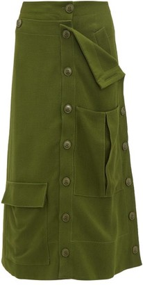 Jacquemus Monceau Patch-pocket Canvas Midi Skirt - Womens - Dark Green