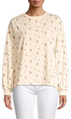 Bishop-Sleeve Floral Sweatshirt