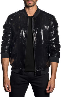 Jared Lang Men's Patent Faux-Leather Bomber Jacket