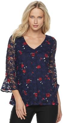 Elle Women's Stretch Lace V-neck Top