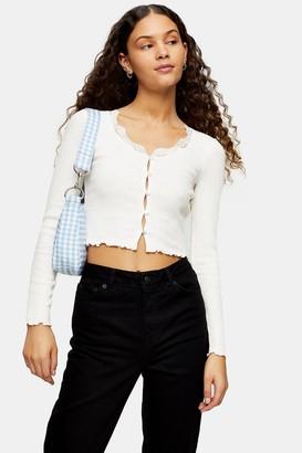 Topshop White Textured Lace Trim Cardigan