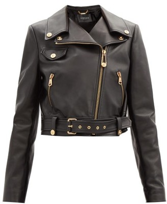 Versace Cropped Leather Biker Jacket - Black