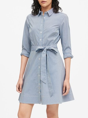 Banana Republic Petite Stripe Poplin Shirt Dress
